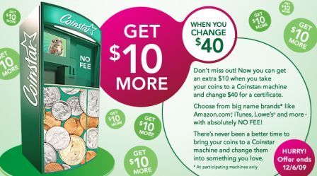 Coinstar: Get $50 Gift Card for $40 in Coins