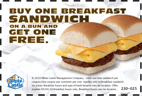white castle breakfast sandwich coupon