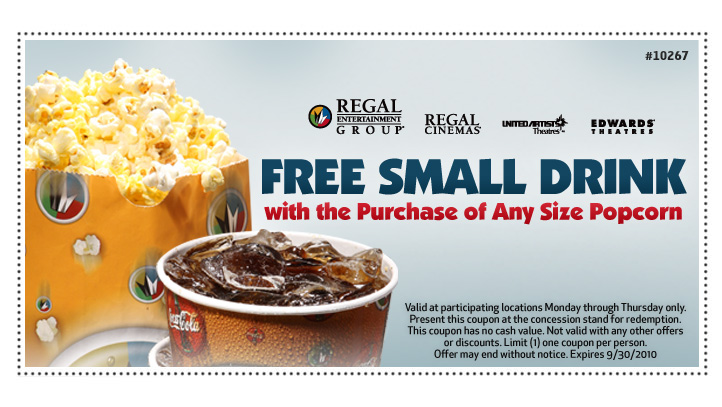 Regal Theatres: Free Drink with Popcorn Purchase (Exp 9/30)