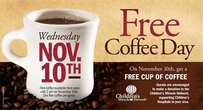 *REMINDER* Bruegger's: Free Cup of Coffee (11/10 Only)