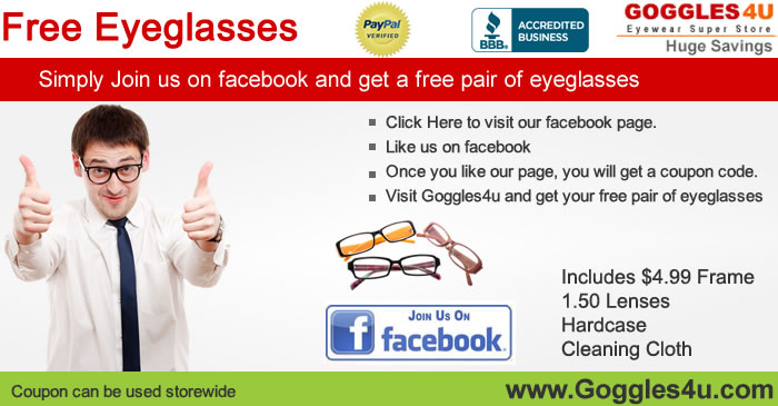 Free Prescription Eyeglasses from Goggles4U + $4.99 Shipping