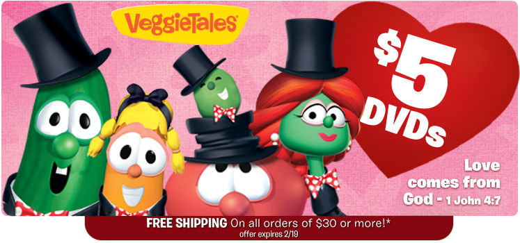 VeggieTales: Select DVDs for $5 Each + Extra 25% Off + Free Shipping on Orders of $30 or More