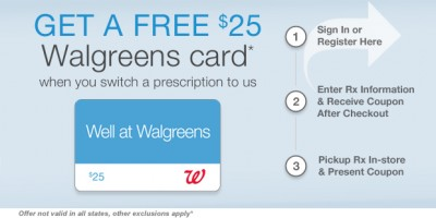 prescription offers seem rare these days so you may be excited to find that you can currently get a free 25 walgreens gift card when you transfer a - Walgreens Prescription Card
