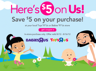 image relating to Babies R Us Coupons Printable named Printable Coupon codes: $5 Off at Infants R Us/Toys R Us + Further