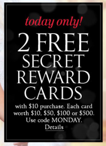 9098b224c8 Victoria s Secret  Two Free Secret Reward Cards with  10 Purchase