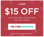 *AVAILABLE AGAIN* thredUP: $15 off $15 Purchase of Like-New Kids Clothes (Exp 12/14)