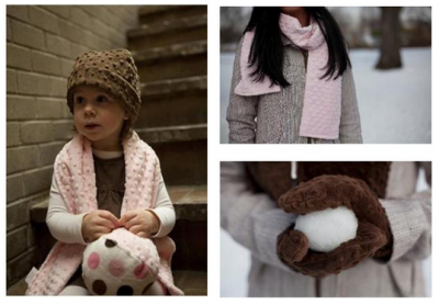 Bebe Bella Designs minky chenille hats mittens scarves