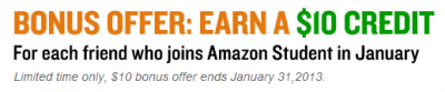 Amazon Student bonus offer