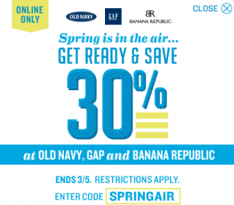 f38f9d080 Old Navy, Gap and Banana Republic Coupon Code: Extra 30% Off Online (Exp  3/5)