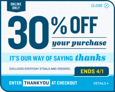 28c110e43 Through Monday, get an extra 30% off at Old Navy (online only) with coupon  code THANKYOU (exp 4/1), an extra 40% off at Gap (online only) with coupon  code ...