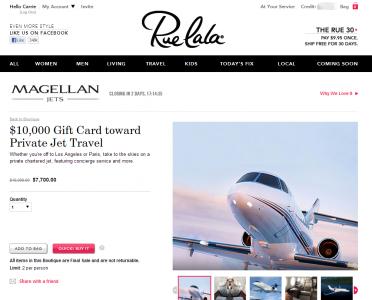 Discount private jet travel via Rue La La
