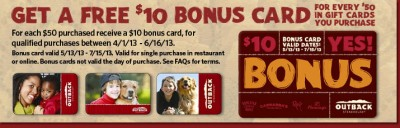Outback Steakhouse bonus gift card