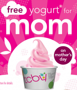 TCBY free yogurt Mother's Day