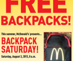 McDonald's backpack giveaway
