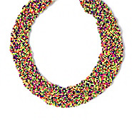 braided multi-colored bead necklace