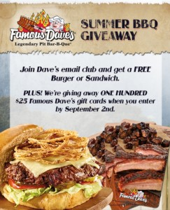 Famous Dave's giveaway