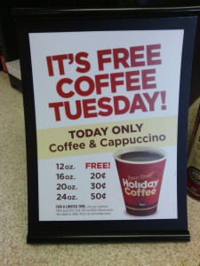 Holiday free coffee Tuesday