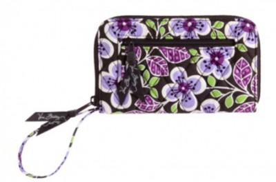 Zip-Around Wallet in Plum Petals
