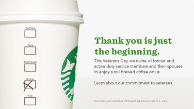 Starbucks free coffee Veterans Day