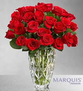 Red Roses in Marquis Vase