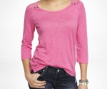 Expree Women's Lace Yoke Button Shoulder Tee