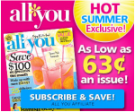 All You Magazine Deal: 1 Year for $12 or 2 Years for $15 (63Ã' ¢/Issue!)