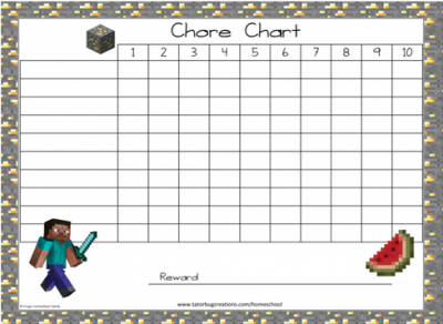 Educents Has Two Free Printable Chore Charts For A Limited Time Choose From Minecraft Or Frozen Each With Three Designs To