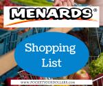Menards Shopping List 9/9/2018 – 9/22/2018