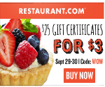 Restaurant.com Sale: $25 Dining Coupon for Only $3 – Today Only (9/30)
