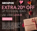 Groupon Coupon: Extra 20% Off Up to 3 Local Deals (Exp. 2/10) = Great Valentine's Dates