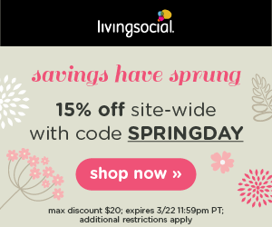 This Weekend (through Sunday, 3/22), LivingSocial Is Celebrating Spring By  Offering An Extra 15% Off Sitewide With The Coupon Code SPRINGDAY At  Checkout.