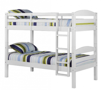 Simple Your kids will be the envy of all their friends with these wood bunk beds from Amazon Get the twin over twin solid wood bunk beds in white for