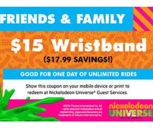 Nickelodeon universe coupon codes online