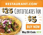 $25 Restaurant.com Certificate for $5 (Exp. 5/26)