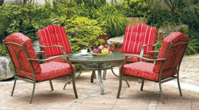 Elegant Bring your food outdoors and linger awhile with this fy Mainstays Warner Heights Piece Conversation Patio Set in Red for at Walmart