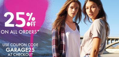 e5260653bad Garage Clothing Coupon Code  25% Off Sitewide + Free Shipping On Any Order  (Exp. 9 21)
