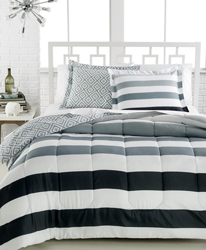 Great This Modern Stripe Comforter Set is available in twin twin xl full queen and king sizes It features a white background with a stripe print in a gradient