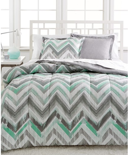 Trend This Dylan Reversible Comforter Set ua is available in either twin or full queen It features a chevron design in alternating strips of gray white and green