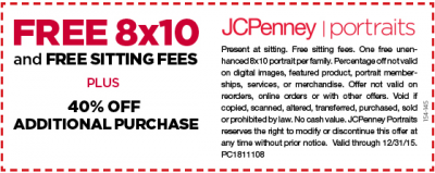 freebies free 8x10 portrait at jcpenney more