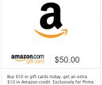Buy $50 Amazon Gift Cards, Get $10 Bonus Gift Card (Prime Members Only)