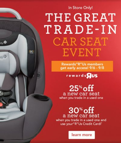 Babies R Us Car Seat Trade-in Event: 25% Off a New Seat