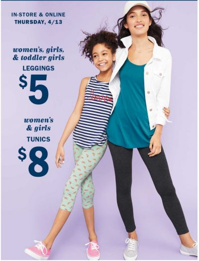 c5df42e0 Today only (Thursday, 4/13) ' you can get some great deals at OldNavy.com '  on leggings and tunics for spring. Select women's and girls' leggings are  priced ...