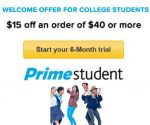College Students: Get $15 Off $40 Amazon Order with Free 6-Month Prime Student Trial