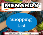 Menards Shopping List