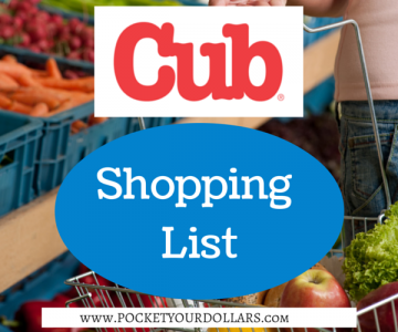 Cub Foods Shopping List 9/23/2018 — 10/17/2018