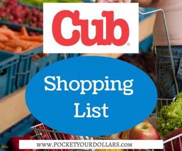 Cub Foods Shopping List 2/22/2018 — 3/7/2018