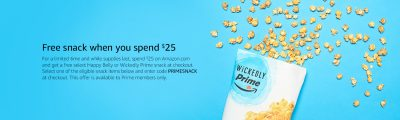 Amazon: Prime Snacks Free With Purchases Over $25
