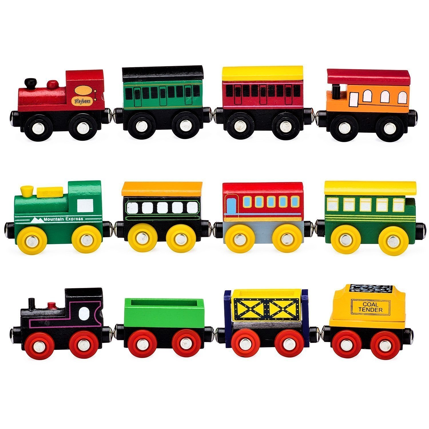 amazon  12 piece wooden train cars magnetic set for  15 19