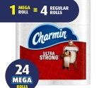 Amazon: Charmin Ultra Strong Toilet Paper, Mega Roll, 24 Count for $21.58 ($.22 per regular single roll!)