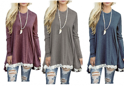 Amazon: Women Lace Long Sleeve Tunic Blouse As Low As $18.99! (17 Colors)